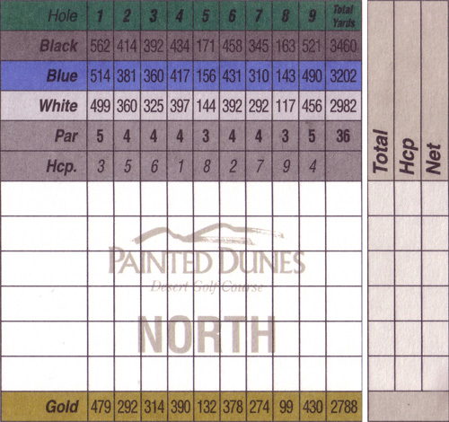North golf course scorecard
